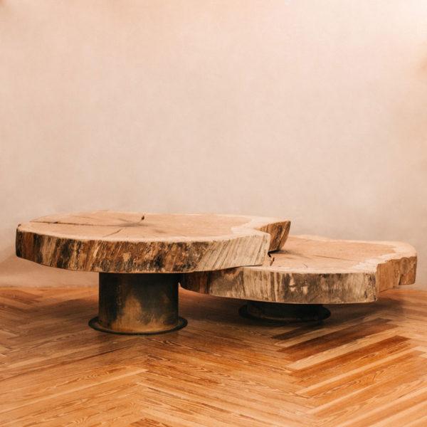 Mesas de centro rodajas madera de Normandía