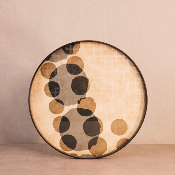 Bandeja madera y cristal redonda círculos azul / tostado