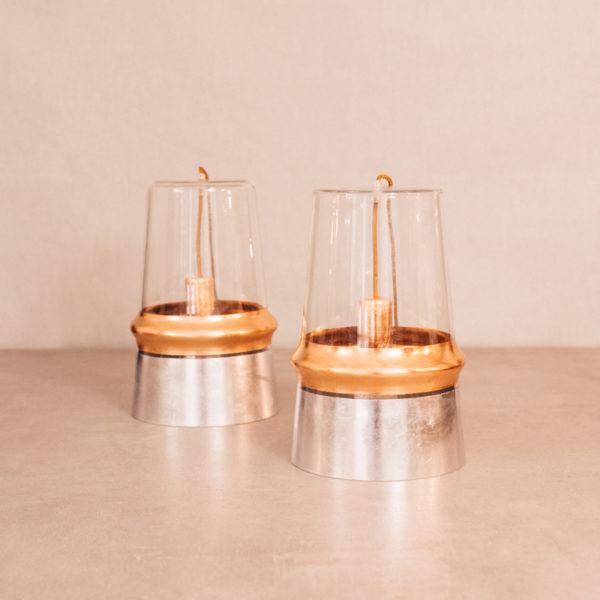 Lámpara sobremesa cristal pintada en plata / cobre