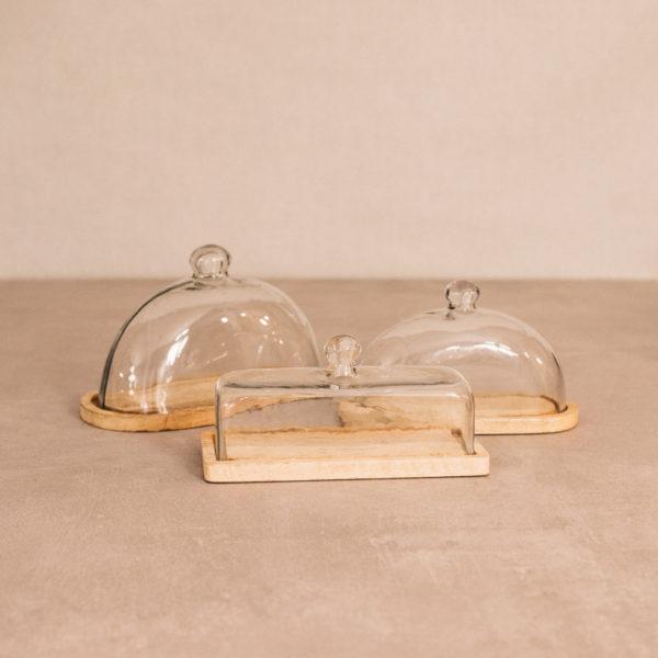 Queseras base madera y tapa cristal